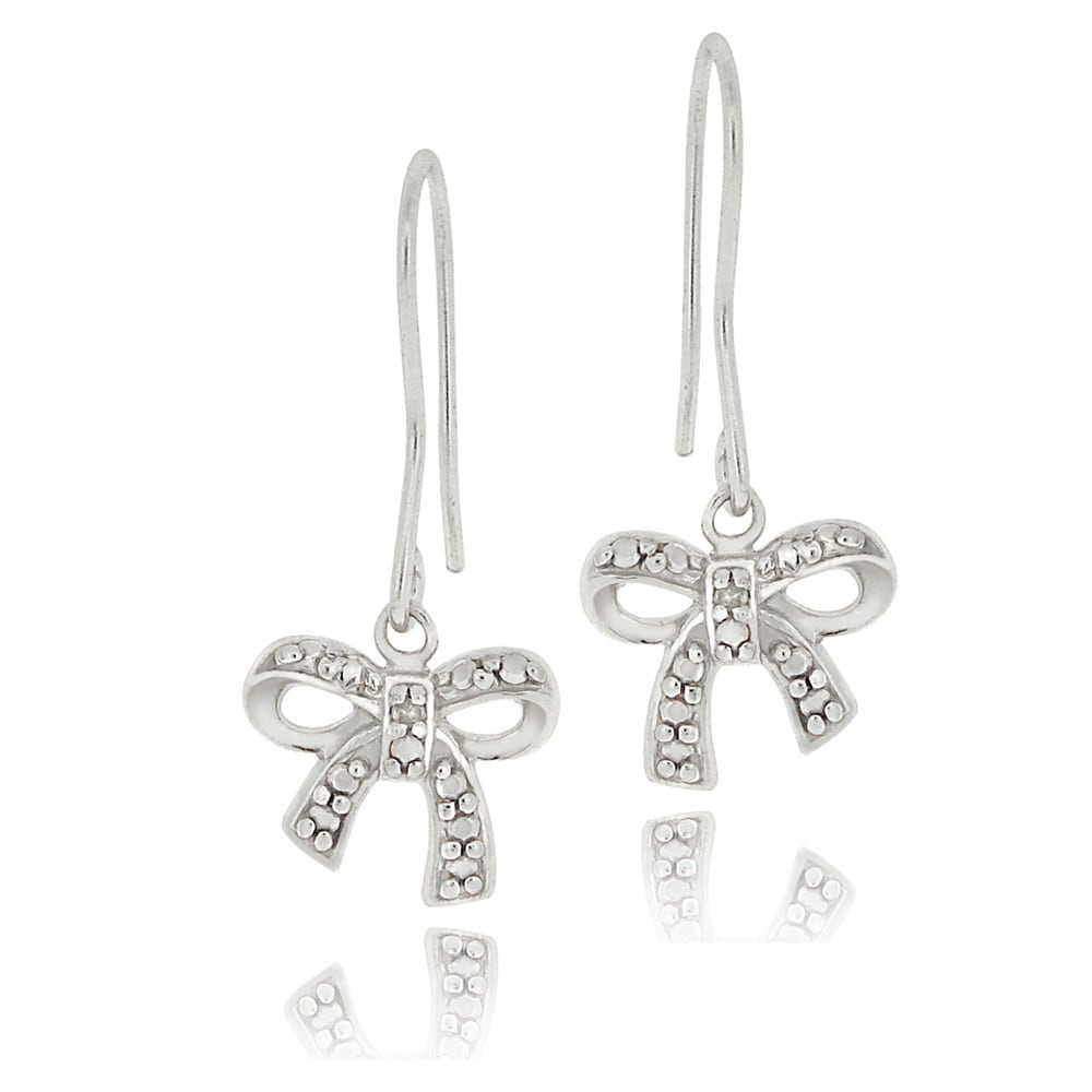 DB Designs Sterling Silver Diamond Accent Bow Dangle Earrings