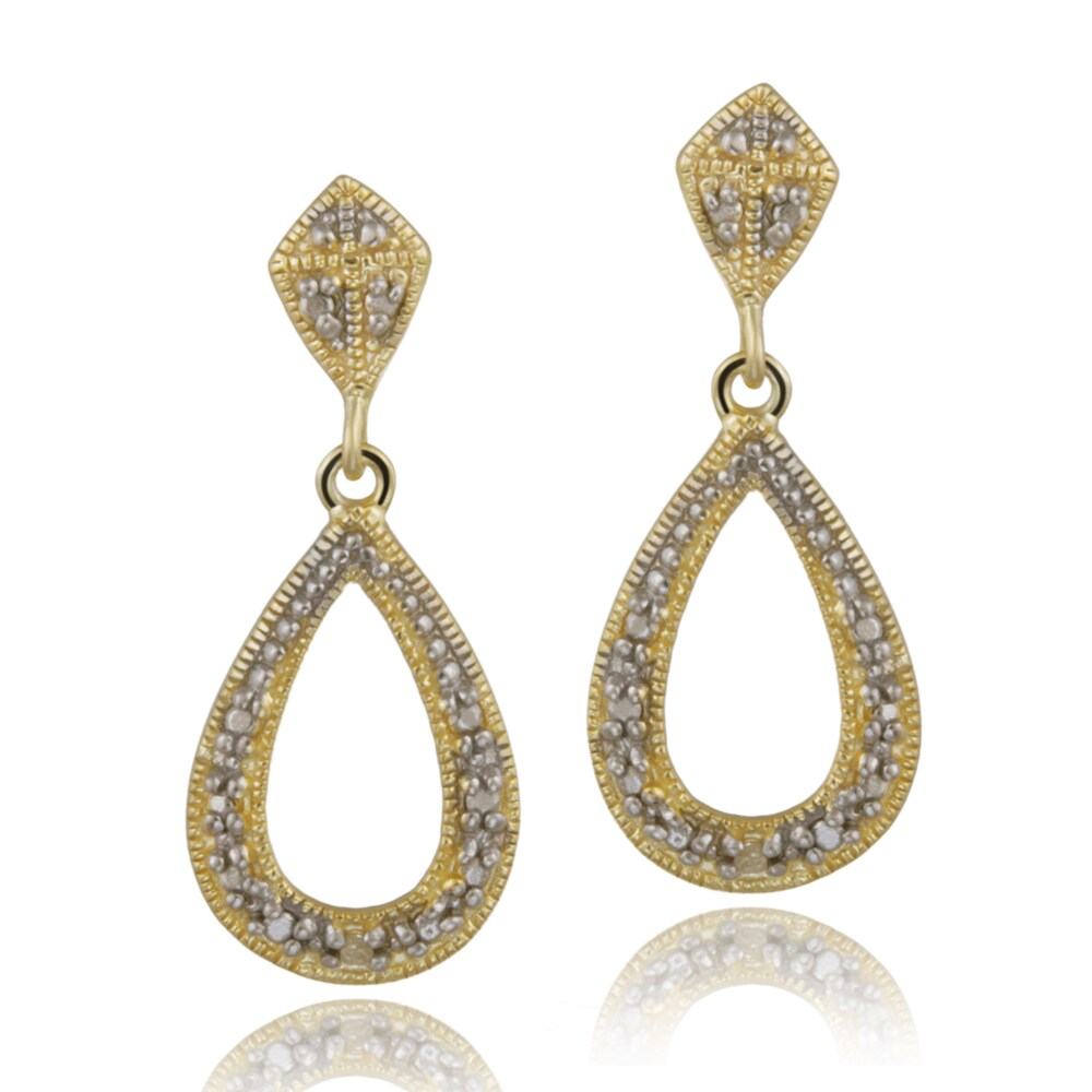 DB Designs 18k Yellow Gold over Silver Diamond Accent Teardrop Dangle Earrings