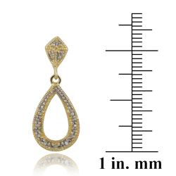 DB Designs 18k Yellow Gold over Silver Diamond Accent Teardrop Dangle Earrings - Thumbnail 2