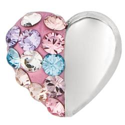 High-polish Sterling Silver Multicolor Crystal Heart Stud Earrings