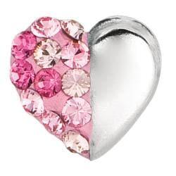 Sterling Silver Light-rose Round Crystal Heart Stud Earrings