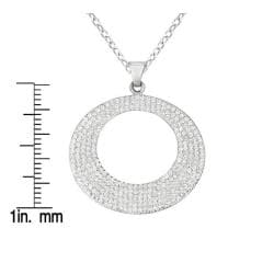 Sterling Silver Crystal Circle Necklace - Thumbnail 2