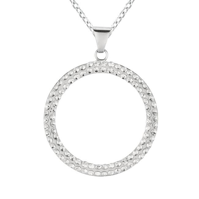 Sterling Silver Crystal Circle Necklace, Adult Unisex, Si...