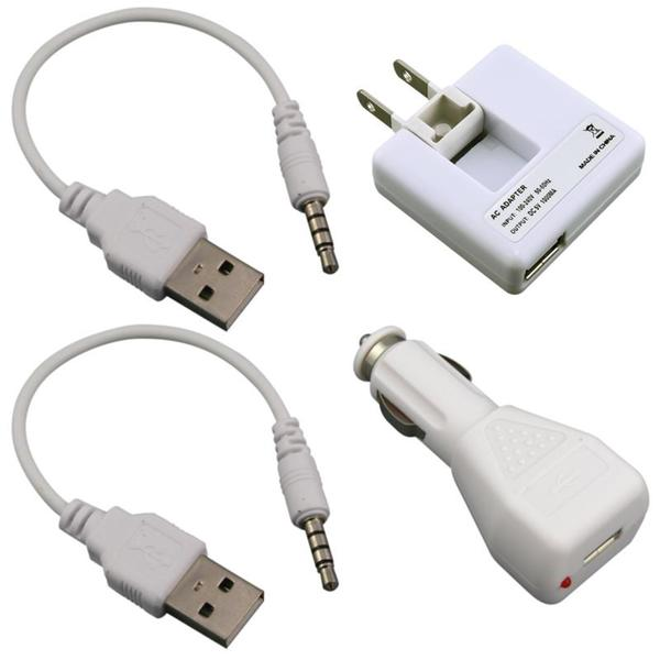 INSTEN USB Cable/ Car and Travel Charger for Apple iPod Shuffle Generation 2