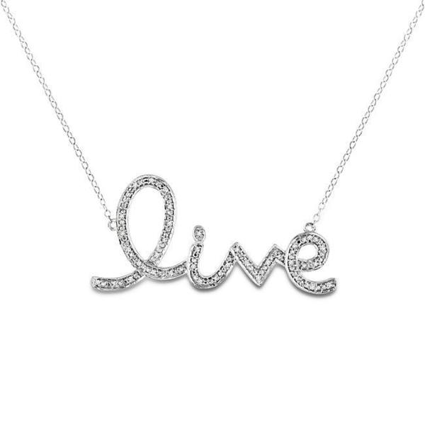 Sterling Silver 1/10ct TDW Diamond 'Live' Necklace