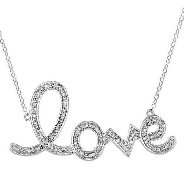 Miadora Sterling Silver 1/10ct TDW Diamond 'Love' Necklace
