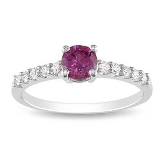 Miadora 14k Gold 3/4ct TDW Pink and White Diamond Solitaire Ring (G-H, I2-I3)