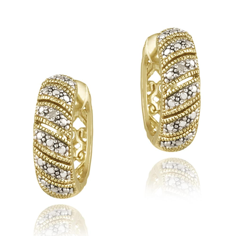 sterling accent gold plated itm hoop diamond ebay huggie earrings silver