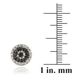 DB Designs Sterling Silver 1/8ct TDW Black Diamond Round Stud Earrings