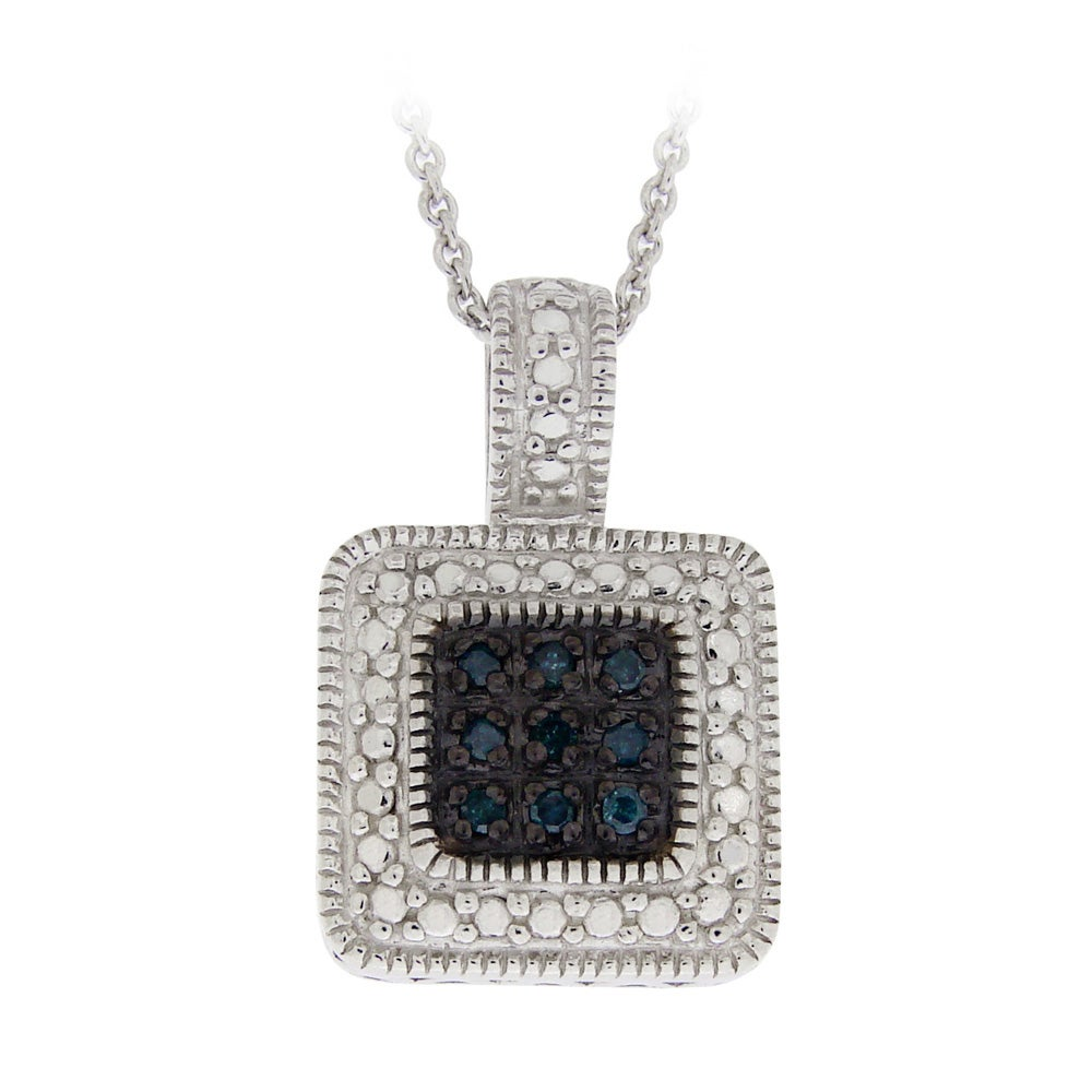 DB Designs Sterling Silver 1/10ct TDW Blue Diamond Square Necklace