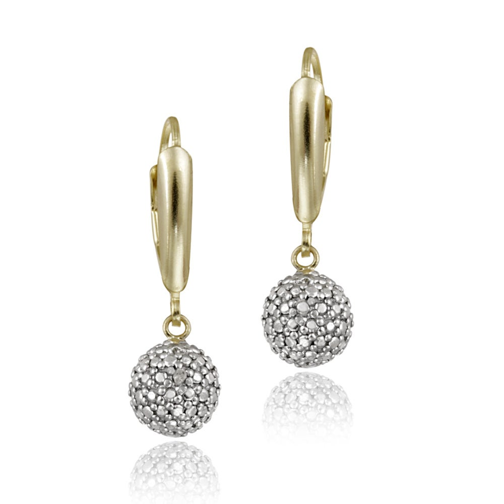 Db Designs 18k Yellow Gold Over Silver Diamond Accent Leverback Ball  Earrings