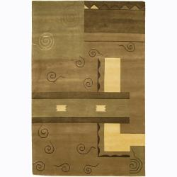 Artist's Loom Hand-knotted Contemporary Geometric Rug - 2' x 3' - Thumbnail 0