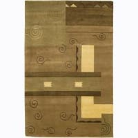 Artist's Loom Hand-knotted Contemporary Geometric Rug - 2' x 3'