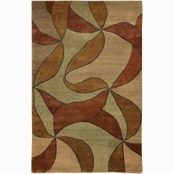 Artist's Loom Hand-knotted Transitional Floral Wool Rug (2'x3')