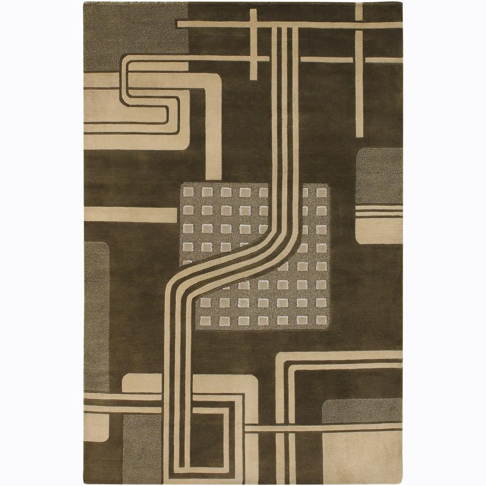 Artist's Loom Hand-knotted Contemporary Geometric Wool Rug - 2'6 x 7'6