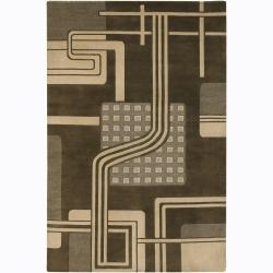 Artist's Loom Hand-knotted Contemporary Geometric Wool Rug (2'6x7'6) - Thumbnail 0