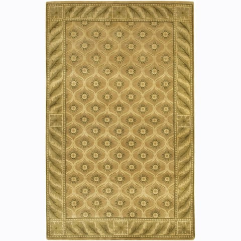 Artist's Loom Hand-knotted Transitional Floral Wool Rug (2'6x7'6) - 2'6 x 7'6