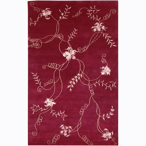 Artist's Loom Hand-knotted Transitional Floral Rug (2'3 x 10') - 2'3 x 10'
