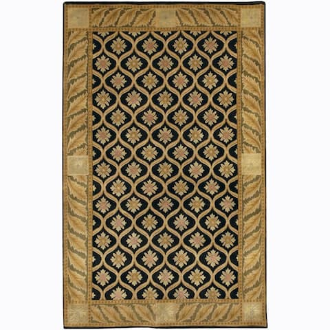 Artist's Loom Hand-knotted Transitional Floral Wool Rug (2'6x7'6)