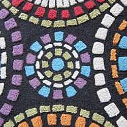 Hand-tufted Caulfield Black Circles Rug (7'9 x 9'9) - Thumbnail 1