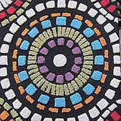 Hand-tufted Caulfield Black Circles Rug (7'9 x 9'9) - Thumbnail 2