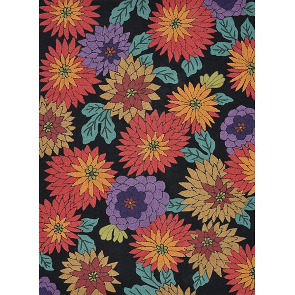 Hand-tufted Caulfield Black Floral Rug (5' x 7'6)