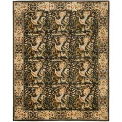 Safavieh Handmade Floral Bells Charcoal Grey Hand-spun Wool Rug - 8' x 10' - Thumbnail 0