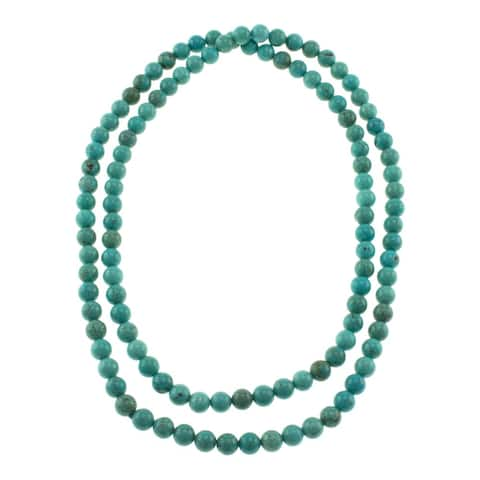 Turquoise Howlite Round Beads Handmade Endless Necklace