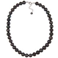 Sterling Silver Clasp Black Freshwater Pearl Necklace for Womens