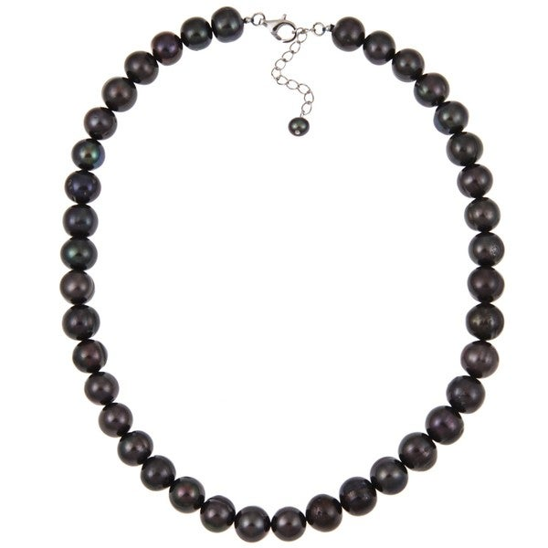 Pearlz Ocean Sterling Silver Black Freshwater Pearl Necklace (10-11 mm)