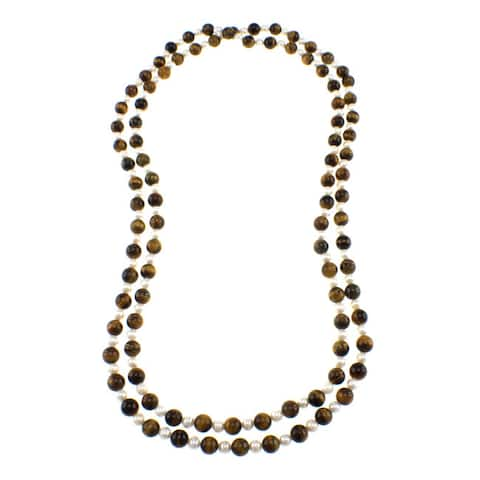 Pearlz Ocean Tigers Eye Freshwater Pearl Beads Endless Women Necklace
