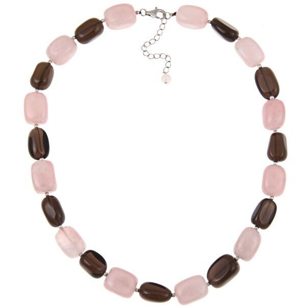 Pearlz Ocean Rose Quartz and Smokey Quartz Necklace