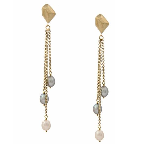 Rivka Friedman Cascading Grey and White Pearl Earrings (7-9 mm)