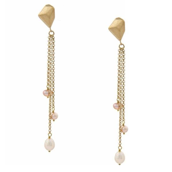 Rivka Friedman Cascading White and Pink Pearl Earrings (4-9 mm)
