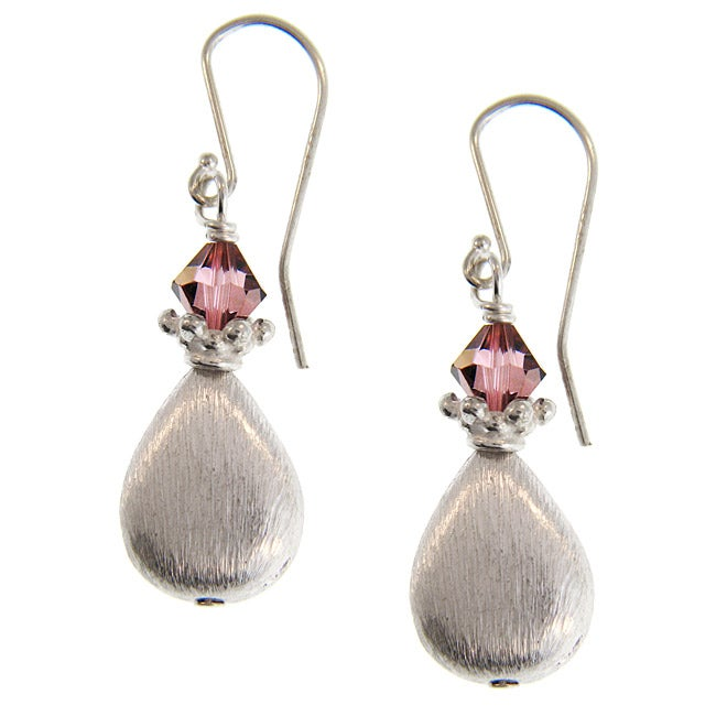 Misha Curtis Sterling Silver Rose Crystal Dangle Earrings