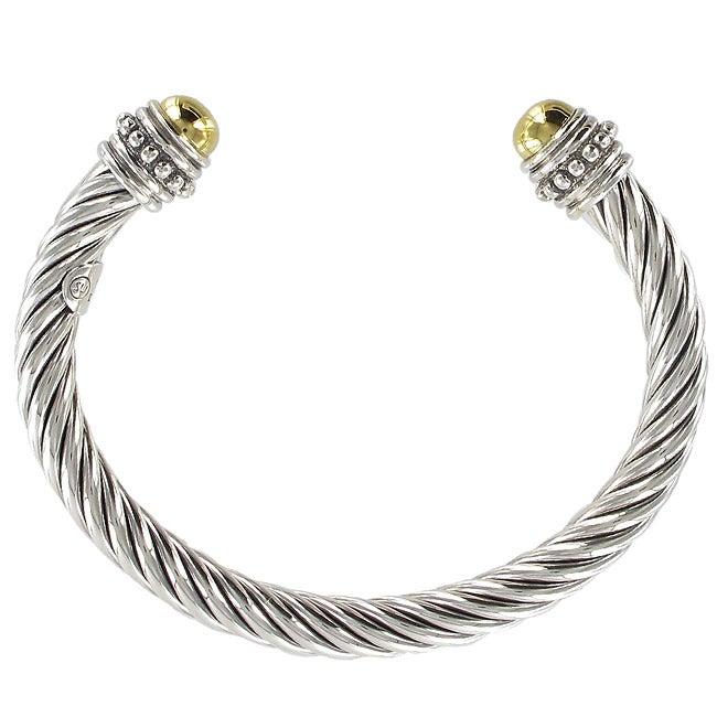 Sunstone Sterling Silver Two Tone Cable Cuff Bracelet Free Shipping Today