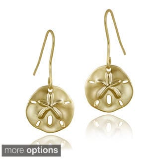 Mondevio 18k Yellow Gold over Sterling Silver Sand Dollar Dangle Earrings