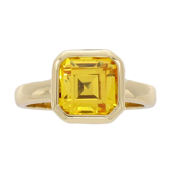 NEXTE Jewelry 14-Karat-Yellow-Gold Overlay Cubic-Zirconia Solitaire Ring