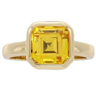 NEXTE Jewelry 14-Karat-Yellow-Gold Overlay Cubic-Zirconia Solitaire Ring