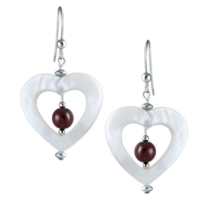 Southwest Moon Sterling Silver Mother of Pearl and Garnet Heart Earrings