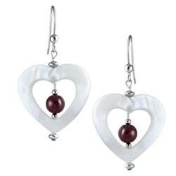 Southwest Moon Sterling Silver Mother of Pearl and Garnet Heart Earrings