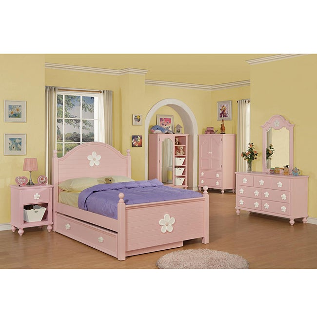 Pink/ White Flower Full-size Bed