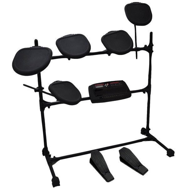 PylePro Professional Electric Drum Kit - Double Braced Folding Padded Drum Throne/Keyboard Bench/Guitar Stool.