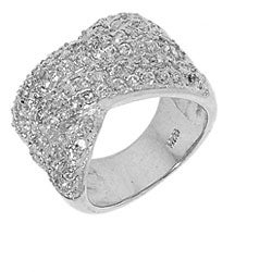 Sterling Silver Cubic Zirconia Criss Cross Ring - Thumbnail 1