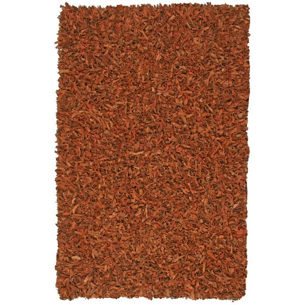 Hand-tied Pelle Copper Leather Shag Rug (4' x 6')
