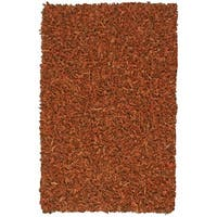 Hand-tied Pelle Copper Leather Shag Rug (4' x 6') - 4' x 6'