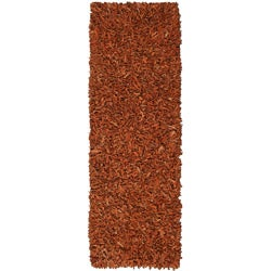 Hand-tied Pelle Copper Leather Shag Rug (2'6 x 8')