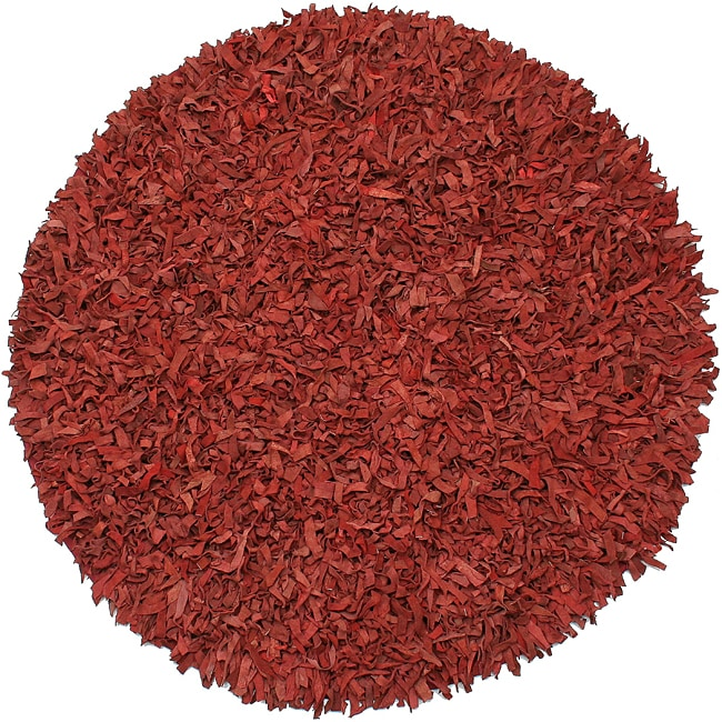 Hand Tied Pelle Red Leather Shag Rug 8 Round Free