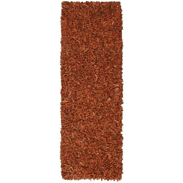 Hand-tied Pelle Copper Leather Shag Rug (2'6 x 12') - 2'6 x 12'
