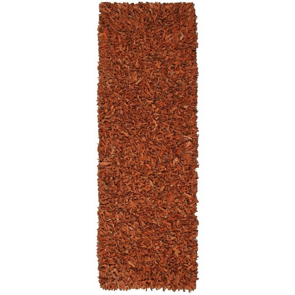 Hand-tied Pelle Copper Leather Shag Rug (2'6 x 12')